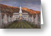 Jesus Painting Greeting Cards - Mount Timpanogos Temple Greeting Card by Jeff Brimley