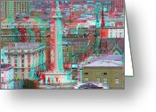 City Illusion Greeting Cards - Mount Vernon - Use Red-Cyan 3D glasses Greeting Card by Brian Wallace