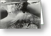 Military Aircraft Greeting Cards - Mount Vesuvius Coughs Up Ash And Smoke Greeting Card by Us Army Air Forces Official