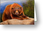 Kodiak Painting Greeting Cards - Mountain Bear Greeting Card by Susan Jenkins
