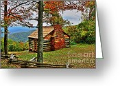 Cabin Window Greeting Cards - Mountain Cabin 1 Greeting Card by Dan Stone