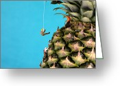 Food And Beverage Digital Art Greeting Cards - Mountain climber on pineapple Greeting Card by Mingqi Ge
