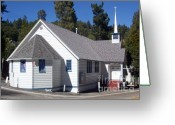 Crossroads Greeting Cards - Mountain Crossroads Church Building Greeting Card by Glenn McCarthy Art and Photography