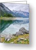 Alberta Landscape Greeting Cards - Mountain lake in Jasper National Park Greeting Card by Elena Elisseeva
