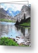 Sky.  Clouds Drawings Greeting Cards - Mountain Lake Greeting Card by Nils Beasley