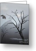 Black Greeting Cards - Mountain Landscape With Bird Greeting Card by Dave Gordon