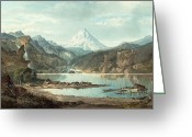 Snow Capped Painting Greeting Cards - Mountain Landscape with Indians Greeting Card by John Mix Stanley