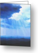 Spiritual Art Pastels Greeting Cards - Mountain Light Greeting Card by Elise Okrend