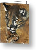 Lion Painting Greeting Cards - Mountain Lion - Guardian of the North Greeting Card by J W Baker