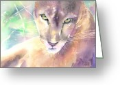 Lions Painting Greeting Cards - Mountain Lion Greeting Card by Arline Wagner