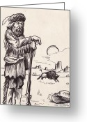 Buffalo Drawings Greeting Cards - Mountain Man Greeting Card by Cristopher
