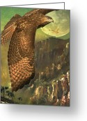 Full Moons Greeting Cards - Mountain of the Hawks Greeting Card by Wingsdomain Art and Photography