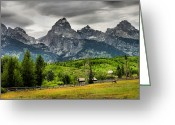 Landscape Framed Prints Greeting Cards - Mountain Pasture Greeting Card by Steven Ainsworth