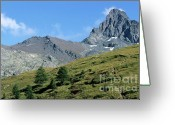 Peak One Greeting Cards - Mountain peak near Saint-Veran Greeting Card by Sami Sarkis