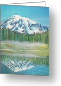 Snow Capped Pastels Greeting Cards - Mountain Reflection Greeting Card by Connie Sherman