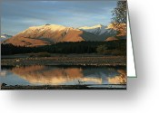 Lake Tekapo Greeting Cards - Mountain Reflections 2 Greeting Card by Mollie Jax