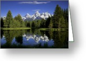Snow Capped Photo Greeting Cards - Mountain Reflections Greeting Card by Andrew Soundarajan
