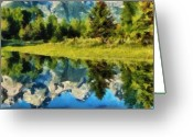 Snow Capped Pastels Greeting Cards - Mountain Reflections Greeting Card by Russ Harris