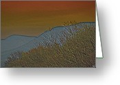 Mountains Mixed Media Greeting Cards - Mountain Ridge Glow Greeting Card by Debra     Vatalaro