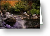 Bright Sky Pyrography Greeting Cards - Mountain River With Rocks Greeting Card by Radoslav Nedelchev