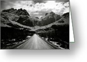 Sunlight Greeting Cards - Mountain Road Greeting Card by David Bowman