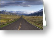 Yellow Line Greeting Cards - Mountain Road Greeting Card by DBushue Photography
