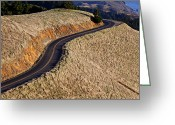Pavement Greeting Cards - Mountain Road Greeting Card by Garry Gay