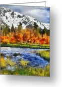 Snow Capped Digital Art Greeting Cards - Mountain Greeting Card by Russ Harris