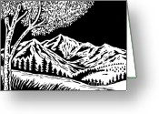 Mountain Landscape Greeting Cards - Mountain scene Greeting Card by Aloysius Patrimonio