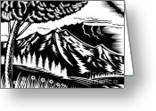Black And White Flower Greeting Cards - Mountain scene woodcut Greeting Card by Aloysius Patrimonio