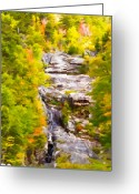 Orange Grey Greeting Cards - Mountain Stream Greeting Card by Ches Black