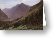 Mountainous Greeting Cards - Mountain Study Greeting Card by Alexandre Calame