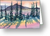 Pine Trees Painting Greeting Cards - Mountain Sunrise Greeting Card by Frank SantAgata