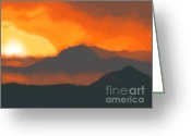 Volcano Greeting Cards - Mountain sunset Greeting Card by Pixel  Chimp