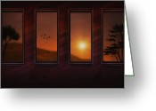 Window Prints Posters Greeting Cards - Mountain Sunset Greeting Card by Thomas York