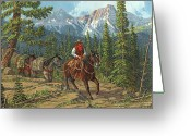Four Corners Greeting Cards - Mountain Traveler Greeting Card by Randy Follis