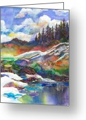 Impressionist Mixed Media Greeting Cards - Mountain View Greeting Card by Marty Husted