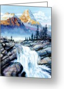 Mountain Greeting Cards - Mountain Waterfall Greeting Card by John Lautermilch
