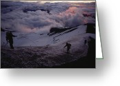 Hikers And Hiking Photo Greeting Cards - Mountaineers Cross A Snow Crusted Ridge Greeting Card by Sam Abell