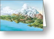 Mountainous Greeting Cards - Mountainous Landscape, Artwork Greeting Card by Gary Hincks