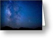 Milky Way Galaxy Greeting Cards - Mountains and Milky Way Greeting Card by Adam Pender