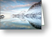 Snowcapped Greeting Cards - Mountains In Fjord Greeting Card by Sandra Kreuzinger