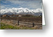 Snow-cap Greeting Cards - Mountains in Logan Utah Greeting Card by James Steele