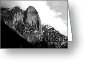Fall Photographs Greeting Cards - Mountains of Yosemite . 7D6167 . Black and White Greeting Card by Wingsdomain Art and Photography