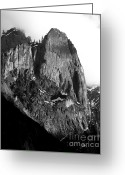 Autumn Photographs Greeting Cards - Mountains of Yosemite . 7D6167 . Vertical Cut . Black and White Greeting Card by Wingsdomain Art and Photography