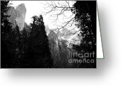 Fall Photographs Greeting Cards - Mountains of Yosemite . 7D6213 . Black and White Greeting Card by Wingsdomain Art and Photography