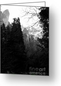 Bierstadt Greeting Cards - Mountains of Yosemite . 7D6214 . Black and White Greeting Card by Wingsdomain Art and Photography