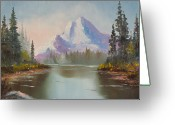 Pine Trees Painting Greeting Cards - Mountaintop Greeting Card by Charles Yates