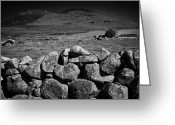 Granite Walls Greeting Cards - Mourne Granite Dry Stone Wall County Down Ireland Greeting Card by Joe Fox