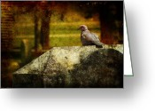 Cemetery Greeting Cards - Mournful Guardian Greeting Card by Leah Moore